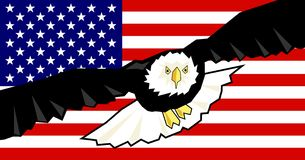 Águia e bandeira Fotos de Stock Royalty Free