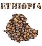 Äthiopien-Wort und Landkarte formten mit Kaffeebohnehintergrund Lizenzfreies Stockfoto