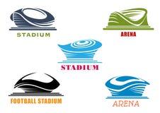 Ícones abstratos modernos dos estádios e das arenas do esporte Fotografia de Stock Royalty Free