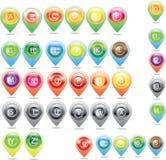 Ícones do mapa e do lugar e mapa do ícone Fotografia de Stock Royalty Free