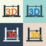 ícones do vetor da impressora 3D ajustados Imagens de Stock