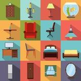 Ícones lisos da mobília ajustados Imagem de Stock Royalty Free