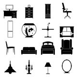 Ícones pretos da mobília ajustados Imagem de Stock