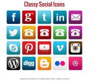 20 ícones sociais elegantes simples bonitos dos meios Imagens de Stock Royalty Free