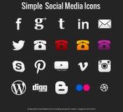 20 ícones sociais simples bonitos dos meios Fotografia de Stock