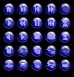 μαύρο μπλε γυαλί κουμπιών ανασκόπησης Στοκ Εικόνες