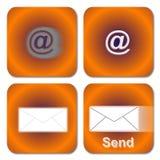 πορτοκάλι ηλεκτρονικού ταχυδρομείου κουμπιών Στοκ φωτογραφία με δικαίωμα ελεύθερης χρήσης