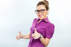 Азиатская бизнес-леди имея успех Стоковое Фото