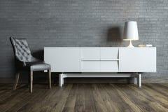 有白色家具和台灯的现代内部室 库存照片