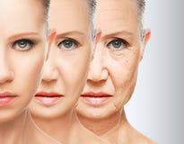 秀丽概念皮肤老化 防皱做法,回复,举,拉紧面部皮肤 库存照片