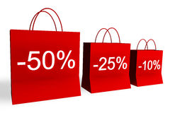 10, 25, and 50 Percent Off Shopping Bags Royalty Free Stock Photo