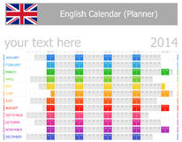 2014 English Planner Calendar with Horizontal Months Royalty Free Stock Photos