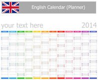 2014 English Planner Calendar with Vertical Months Stock Photos