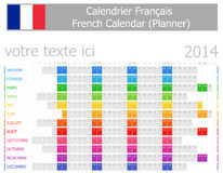 2014 French Planner Calendar with Horizontal Months Stock Image