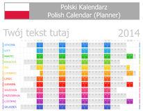 2014 Polish Planner Calendar with Horizontal Months Royalty Free Stock Photo