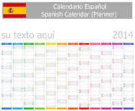 2014 Spanish Planner Calendar with Vertical Months Royalty Free Stock Images