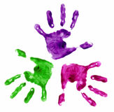 3 finger painted hands Stock Photography