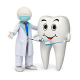 3d dentist with a smiling tooth and toothbrush Royalty Free Stock Images