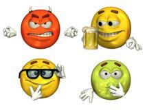 3D Emoticons grandes - jogo 3 Imagem de Stock