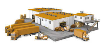 3d illustration of infrastructure warehouse with t Royalty Free Stock Photo