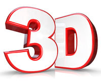3D Red Letter and Number Three Dimensional Viewing Stock Photo