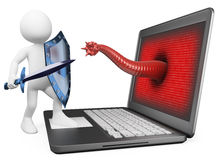 3D white people. Antivirus protection against computer virus Stock Photography