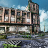 Abandoned city square Stock Images