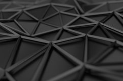Abstract 3D Rendering of Low Poly Black Surface Stock Images