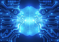 Abstract electric circuit digital brain,technology concept Royalty Free Stock Photos