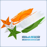Abstract graphic, design, holidays template with orange, white and green stars in national flag colors for Indian Independence Day Stock Images