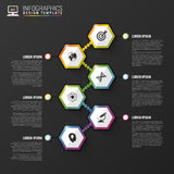 Abstract hexagon infographics or timeline template. Vector illustration Royalty Free Stock Image