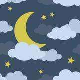 Night Moon Seamless Pattern Royalty Free Stock Photography