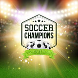Abstract soccer football poster. Stadium background with bright Royalty Free Stock Images