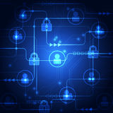 Abstract technology security on global network background, vector illustration Stock Photo