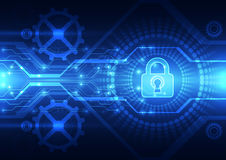 Abstract technology security on global network background, vector illustration Royalty Free Stock Photos