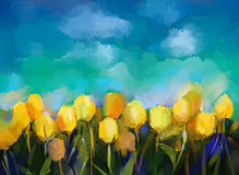 Abstract tulips flowers oil painting. Stock Photography