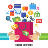 Abstract vector background. Hands with shopping bag and flat ico Stock Photo