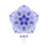 Abstract vector floral ornamental border. Lace pattern design. Watercolor ornament on blue background. Vector ornamental border fr Royalty Free Stock Photography