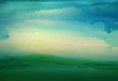 Abstract watercolor hand painted landscape background. Royalty Free Stock Photography