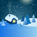 Abstract winter landscape with house and snowy forest at night Royalty Free Stock Photos