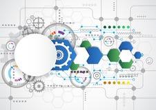 Abstrakt teknologisk bakgrund med olika teknologiska beståndsdelar illustrationvektor Arkivfoto