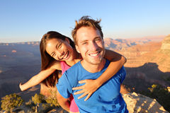 Active happy lifestyle couple hiking Grand Canyon Royalty Free Stock Images