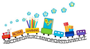 Active learning for preschool kids colorful train Stock Image