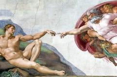 Adam Creation in Kapel Sistine Stock Afbeelding