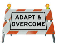 Adapt Overcome Barricade Road Sign Challenge Problem Solving Royalty Free Stock Photos