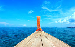 Adventure seascape background of trip journey by tourist boat Stock Photo