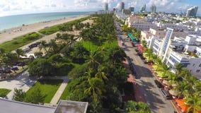 Aerial 4k video of Ocean Drive Miami Beach stock video
