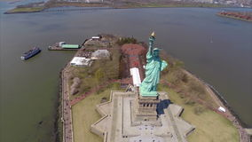 Aerial video Statue of Liberty stock footage