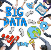 Aerial View of Business People and Big Data Concepts Royalty Free Stock Photos