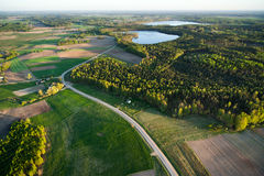 Aerial view of Lithuanian countryside at  spring Stock Photos